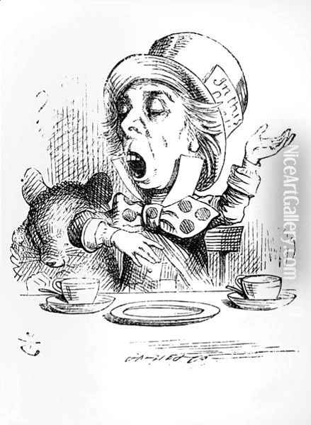 The Mad Hatter, illustration from Alices Adventures in Wonderland, by Lewis Carroll, 1865 Oil Painting - John Tenniel