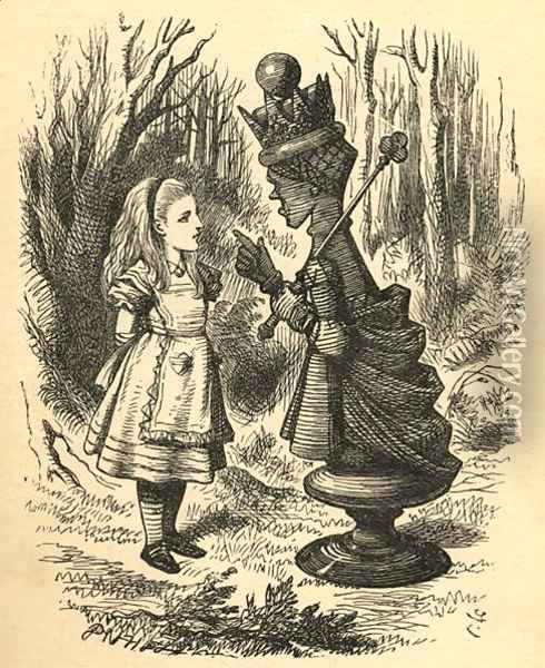 Alice and the Red Queen, illustration from Through the Looking Glass by Lewis Carroll 1832-98 first published 1871 2 Oil Painting - John Tenniel