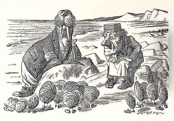 But Wait a Bit, illustration from Through the Looking Glass by Lewis Carroll Oil Painting - John Tenniel