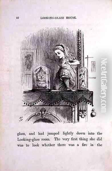 Alice in the Looking-Glass Room, illustration from Through the Looking-Glass by Lewis Carroll 1833-98, 1872 Oil Painting - John Tenniel