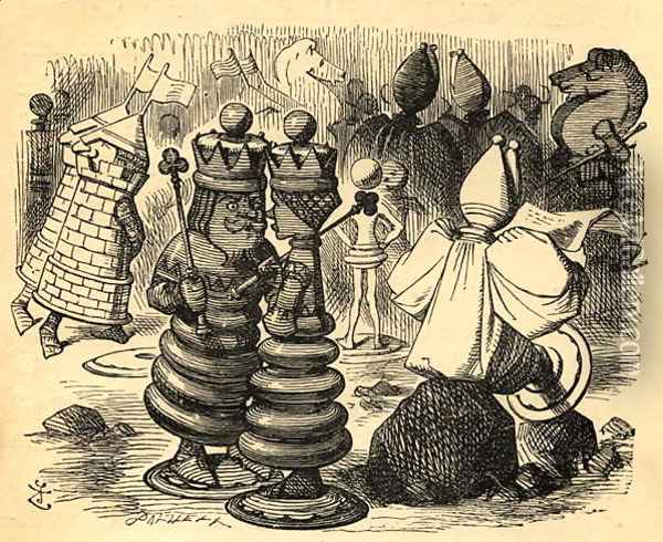 The Chess Players, illustration from Through the Looking Glass by Lewis Carroll 1832-98 first published 1871 Oil Painting - John Tenniel