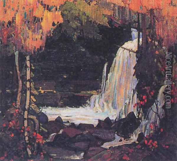 Woodland Waterfall Oil Painting - Tom Thomson