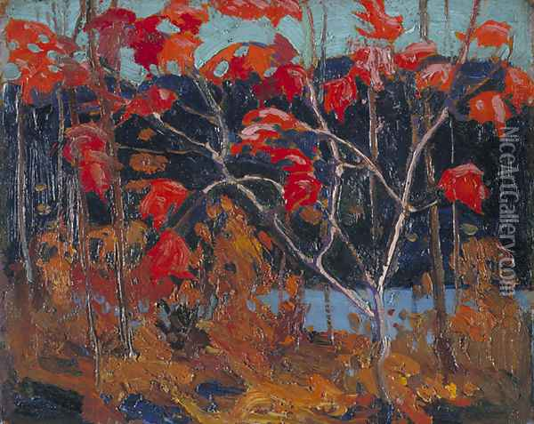 Red Leaves Oil Painting - Tom Thomson