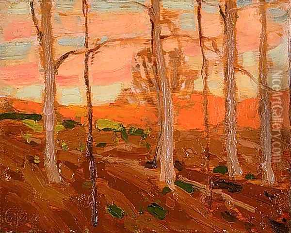 Trees, Red Hill, and Sunset Sky Oil Painting - Tom Thomson