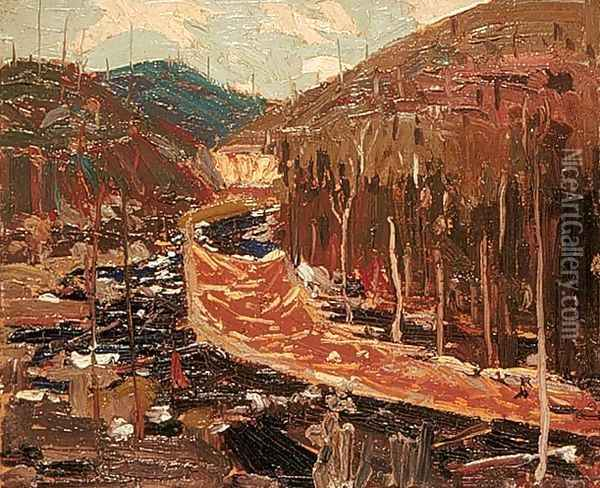 Timber Chute Oil Painting - Tom Thomson