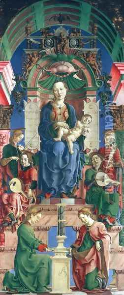 Madonna with the Child Enthroned (panel from the Roverella Polyptych) 1474 Oil Painting - Cosme Tura
