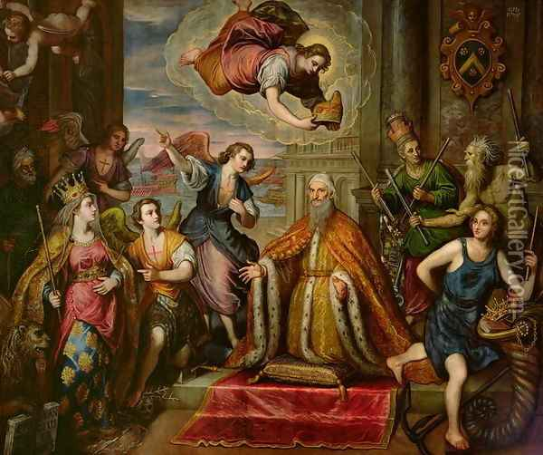 Doge Giovanni Bembo d.1615 kneeling before the personification of the City of Venice Oil Painting - Domenico Tintoretto