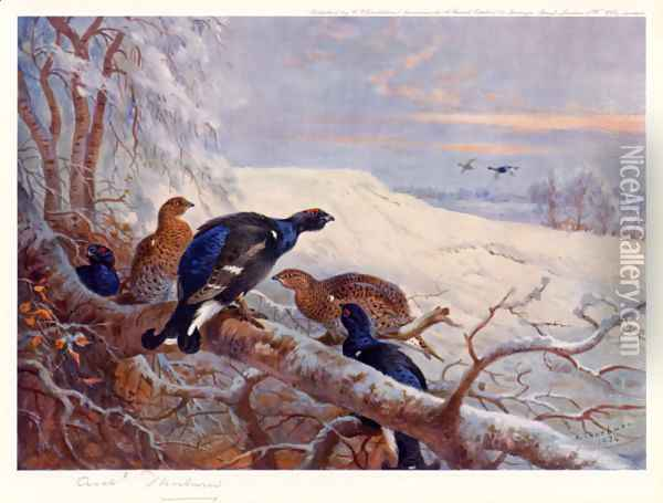 Blackgame in Winter 2 Oil Painting - Archibald Thorburn