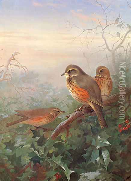 Out in the Cold Oil Painting - Archibald Thorburn