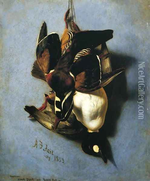 American Wood Duck and Golden Eye Oil Painting - Arthur Fitzwilliam Tait