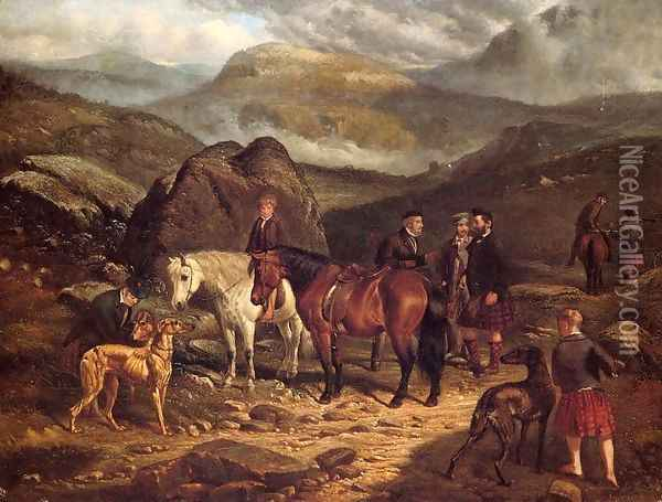 Hunting on the Scottish Highlands Oil Painting - Arthur Fitzwilliam Tait