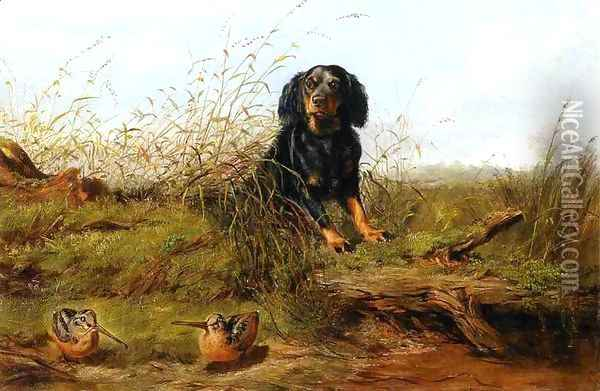 Cocker Spaniel and Woodcock Oil Painting - Arthur Fitzwilliam Tait