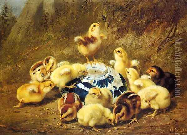 Chicks and Delft Bowl Oil Painting - Arthur Fitzwilliam Tait