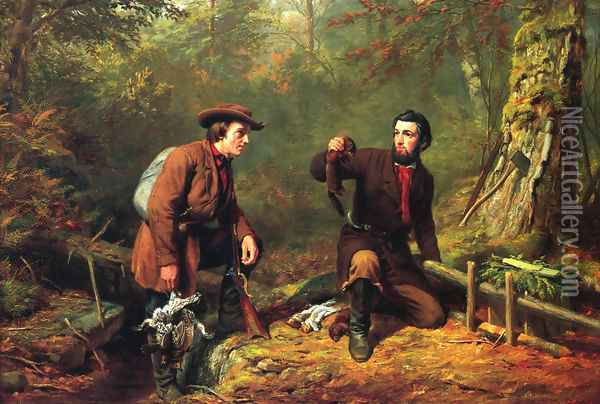 Mink Trapping in Northern New York Oil Painting - Arthur Fitzwilliam Tait
