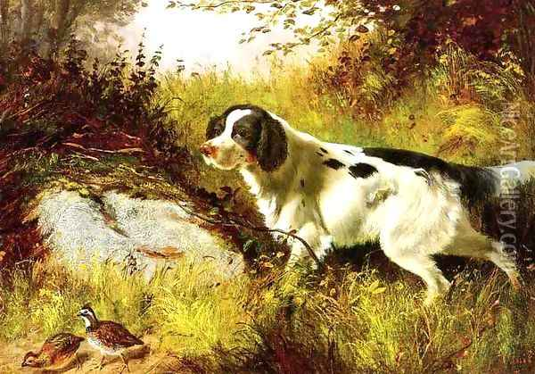 Dog and Quail Oil Painting - Arthur Fitzwilliam Tait