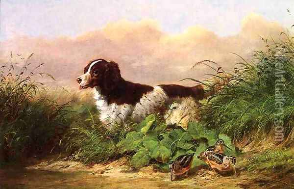 Setter and Woodcock Oil Painting - Arthur Fitzwilliam Tait