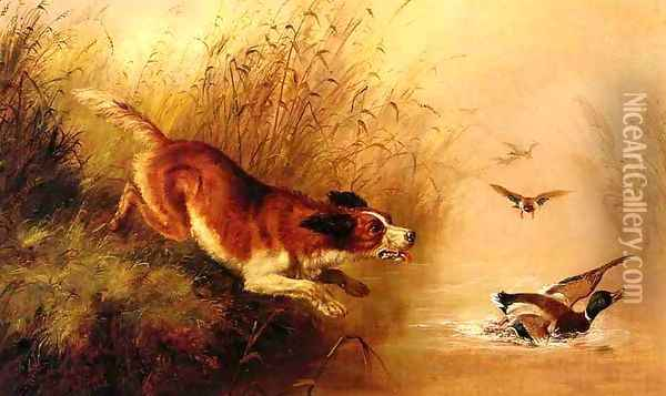 Spaniel Chasing Ducks Oil Painting - Arthur Fitzwilliam Tait