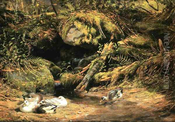 Ducks at the Spring Head Oil Painting - Arthur Fitzwilliam Tait