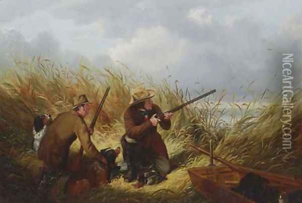 Duck Shooting Over Decoys Oil Painting - Arthur Fitzwilliam Tait