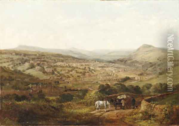 A View of Halifax, Yorkshire Oil Painting - Arthur Fitzwilliam Tait