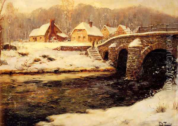 A Stone Bridge Over A Stream In Winter Oil Painting - Fritz Thaulow