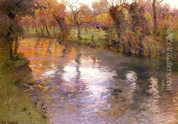 An Orchard On The Banks Of A River Oil Painting - Fritz Thaulow