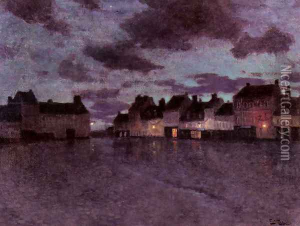Marketplace In France, After A Rainstorm Oil Painting - Fritz Thaulow