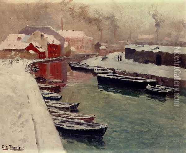 A Snowy Harbor View Oil Painting - Fritz Thaulow