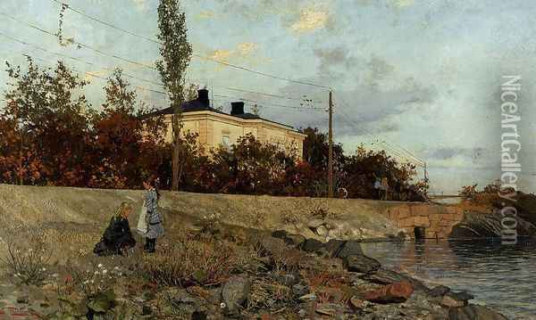 Evening at the Bay of Frogner Oil Painting - Fritz Thaulow