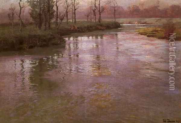 On A French River Oil Painting - Fritz Thaulow