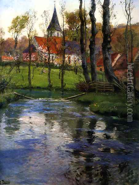 The Old Church by the River Oil Painting - Fritz Thaulow