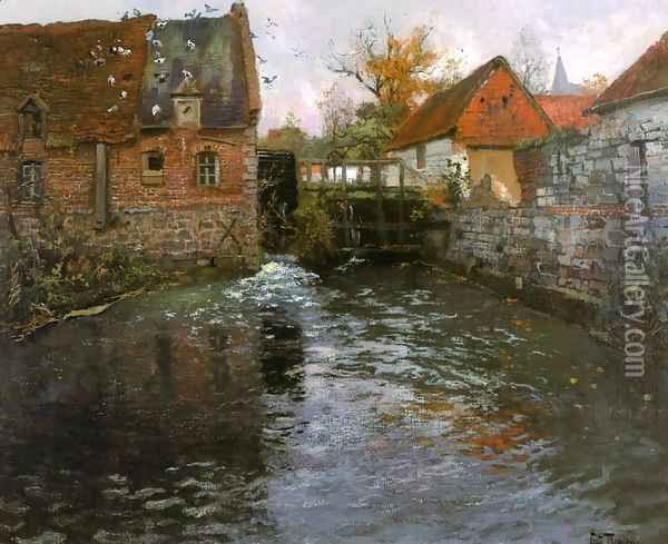 The Mill Pond Oil Painting - Fritz Thaulow