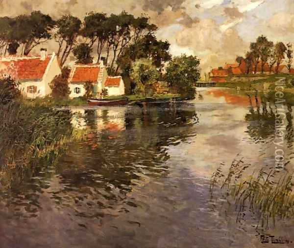Cottages by a River Oil Painting - Fritz Thaulow