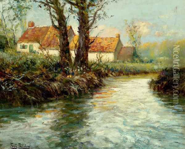 House By The Water's Edge Oil Painting - Fritz Thaulow