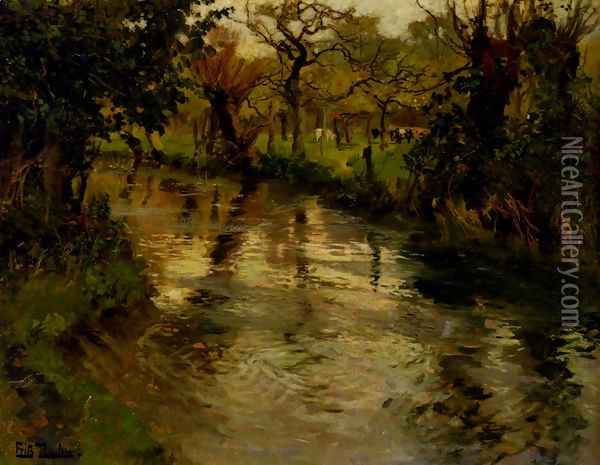 Woodland Scene With A River Oil Painting - Fritz Thaulow