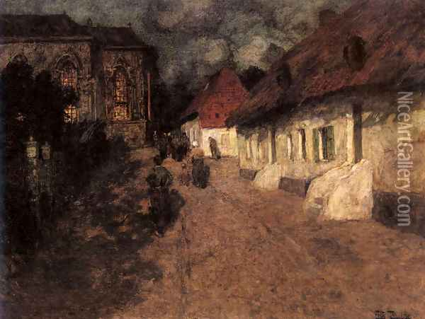 Midnight Mass Oil Painting - Fritz Thaulow