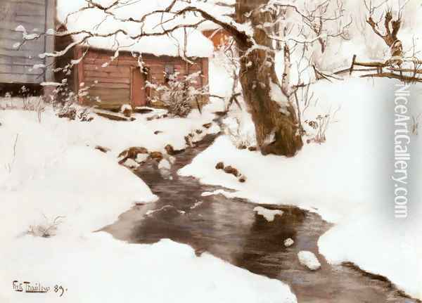 Winter on the Isle of Stord Oil Painting - Fritz Thaulow