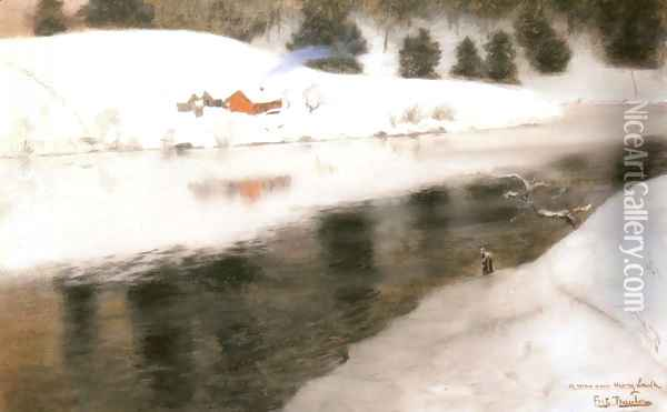 Winter at Simoa River Oil Painting - Fritz Thaulow