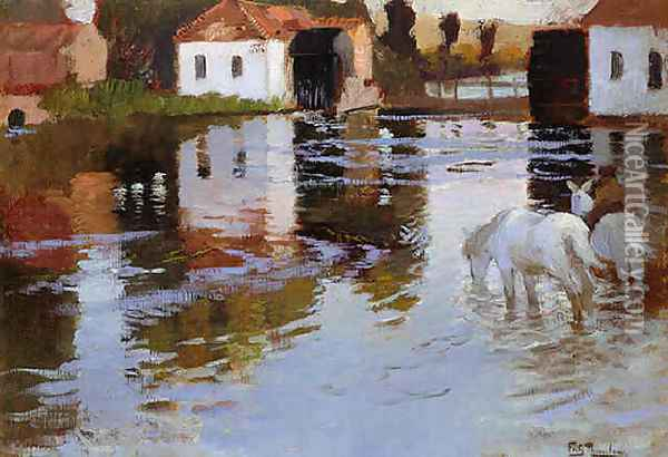 Horses Watering at the Bridge at Montreiul sur Mer, Normandy Oil Painting - Fritz Thaulow