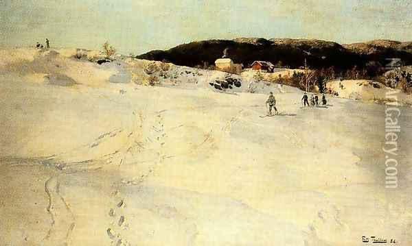A Winter Day in Norway Oil Painting - Fritz Thaulow