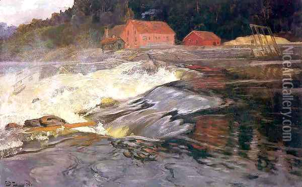 Waterfall at Norway Oil Painting - Fritz Thaulow
