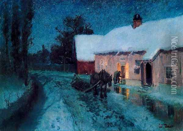 The night Oil Painting - Fritz Thaulow
