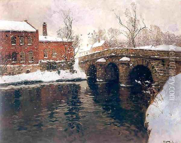 Old bridge Oil Painting - Fritz Thaulow