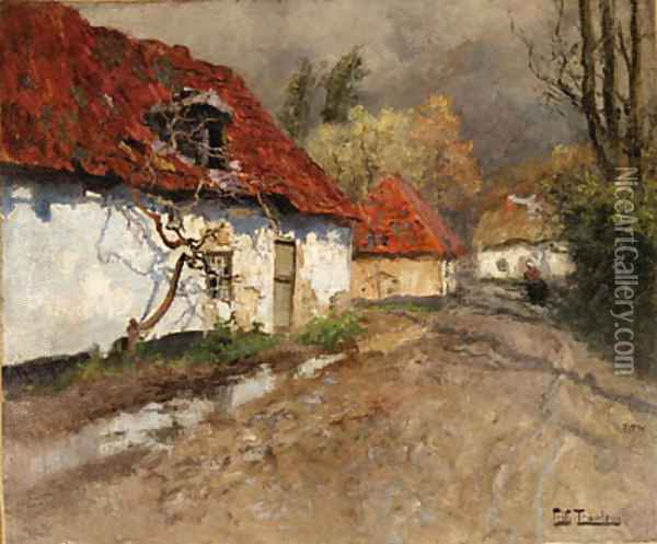 A Figure on a Village Path in Normandy Oil Painting - Fritz Thaulow