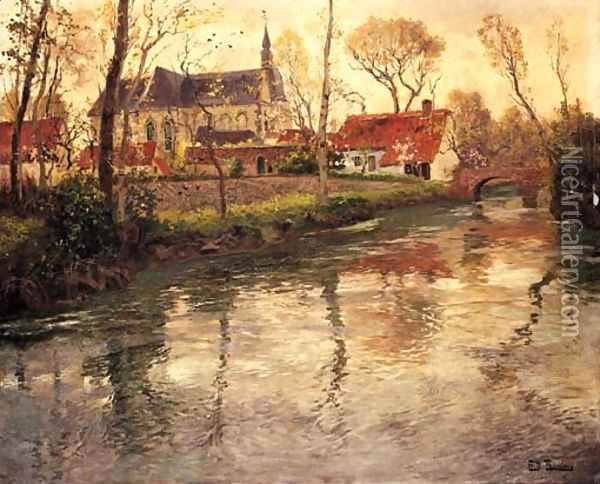 A River Landscape with a Church Beyond Oil Painting - Fritz Thaulow