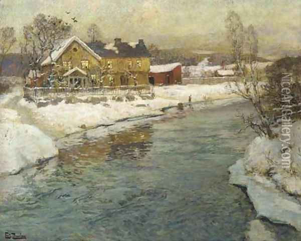 A Cottage by a Canal in the Snow Oil Painting - Fritz Thaulow