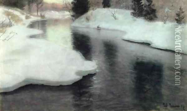 Thawing Ice Oil Painting - Fritz Thaulow