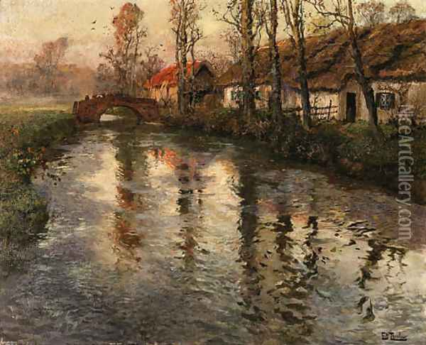 Cottages along a river, Normandy Oil Painting - Fritz Thaulow
