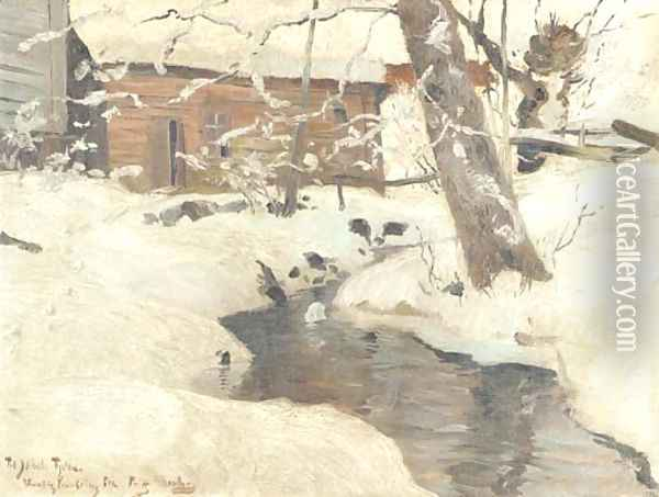 A snow-covered cottage by a stream Oil Painting - Fritz Thaulow