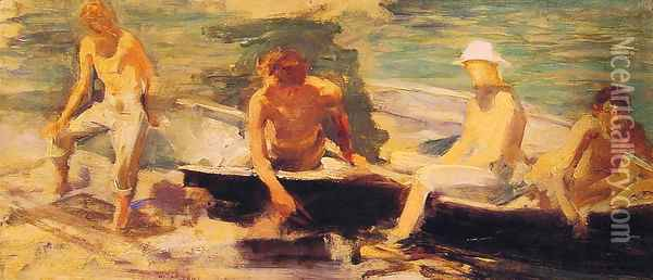 The Rowing Party Oil Painting - Henry Scott Tuke